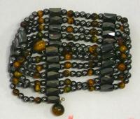 гематитовые бусы с камнем Близнецов - тигровым глазом