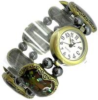 кварцевые часы с браслетом из перламутра - камнем Водолея