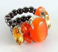 гематитовое кольцо с камнем Близнецов - кошачий глаз