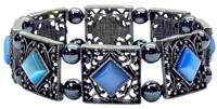 гематитовый браслет с камнем Близнецов - кошачий глаз